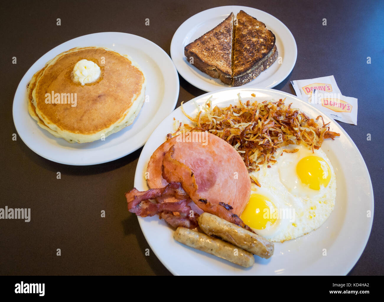 A Grand Slam breakfast from Denny's (Denny's Diner), a well-known pancake house and fast casual restaurant - Stock Image