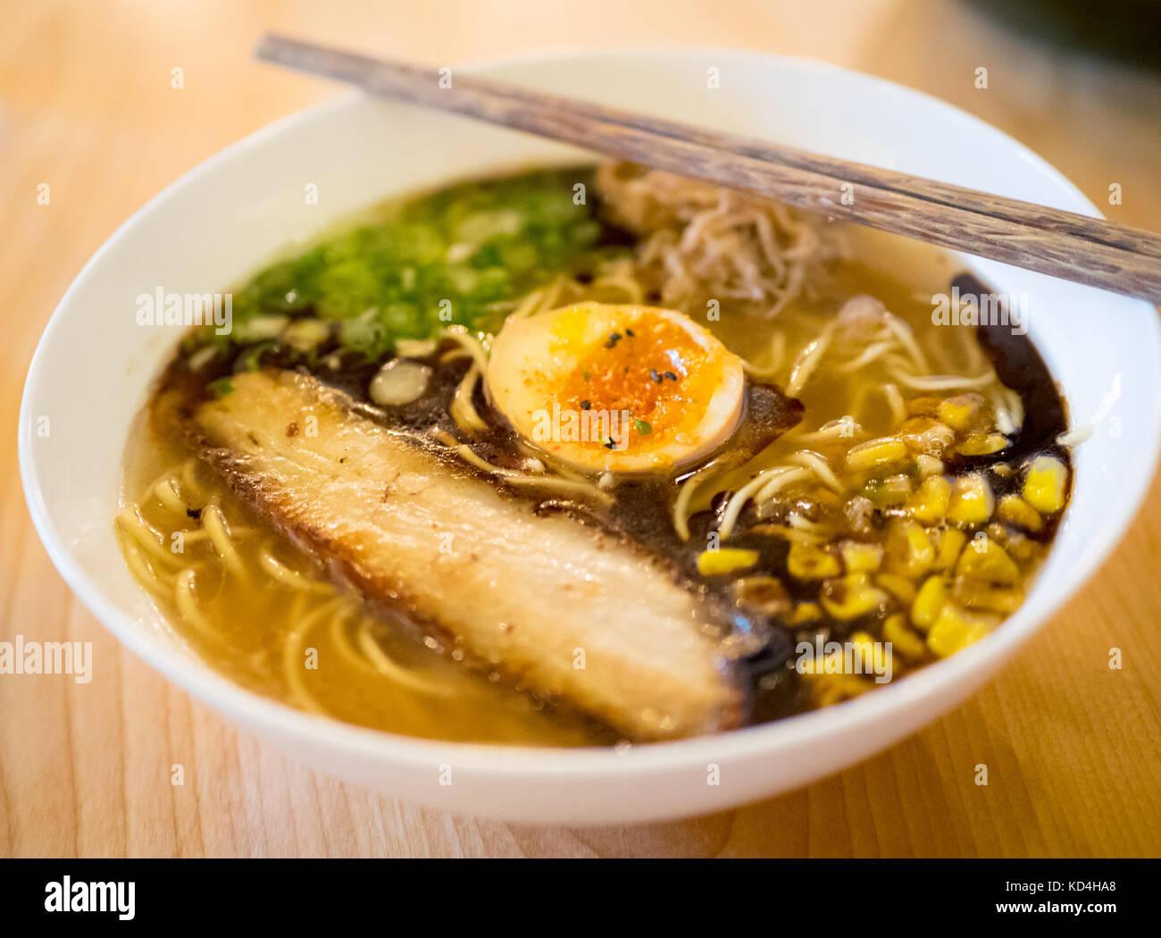 Japanese ramen noodles (prairie pork shio) from the Prairie Noodle Shop in Edmonton, Alberta, Canada. - Stock Image