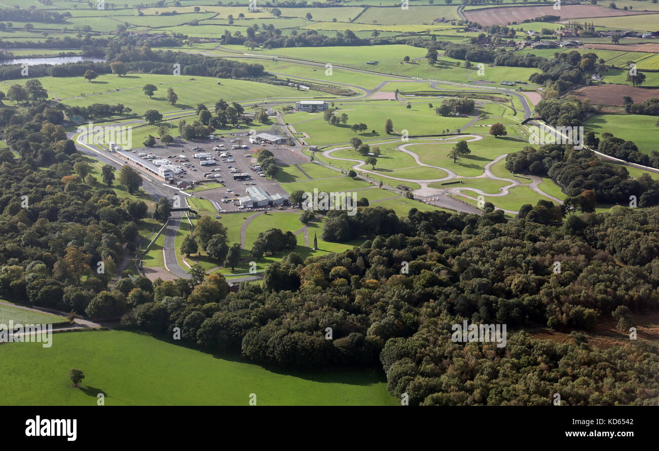 aerial view of Oulton Park Racing Circuit - Stock Image
