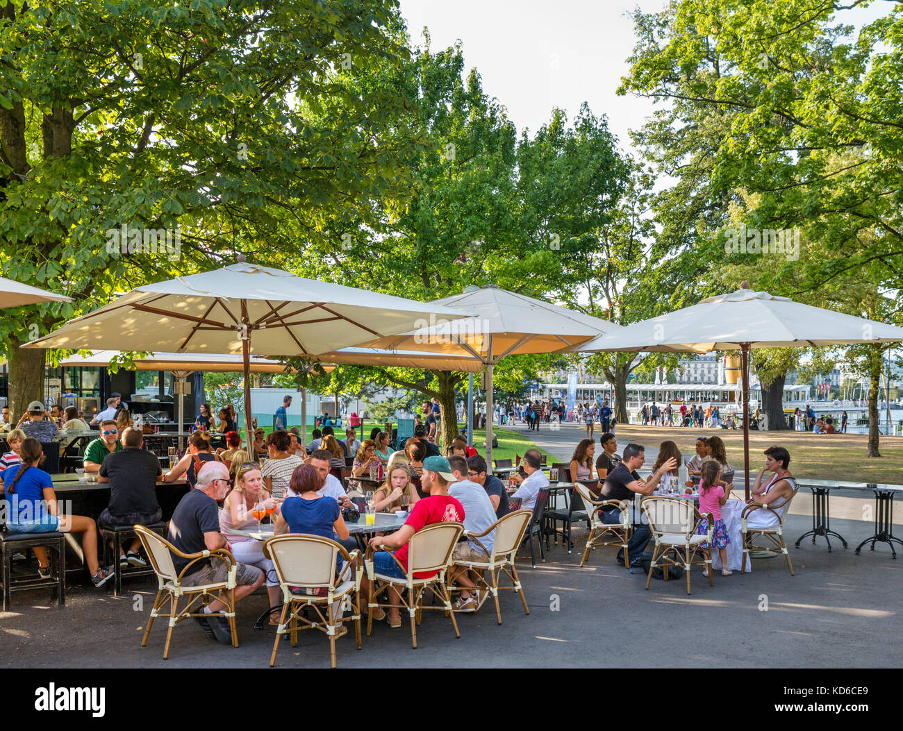 Cafe geneva switzerland stock photos cafe geneva for Restaurant jardin anglais