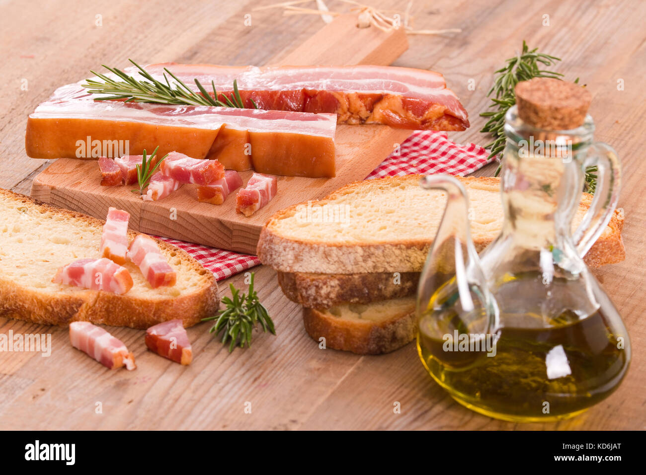 Bread and bacon. - Stock Image