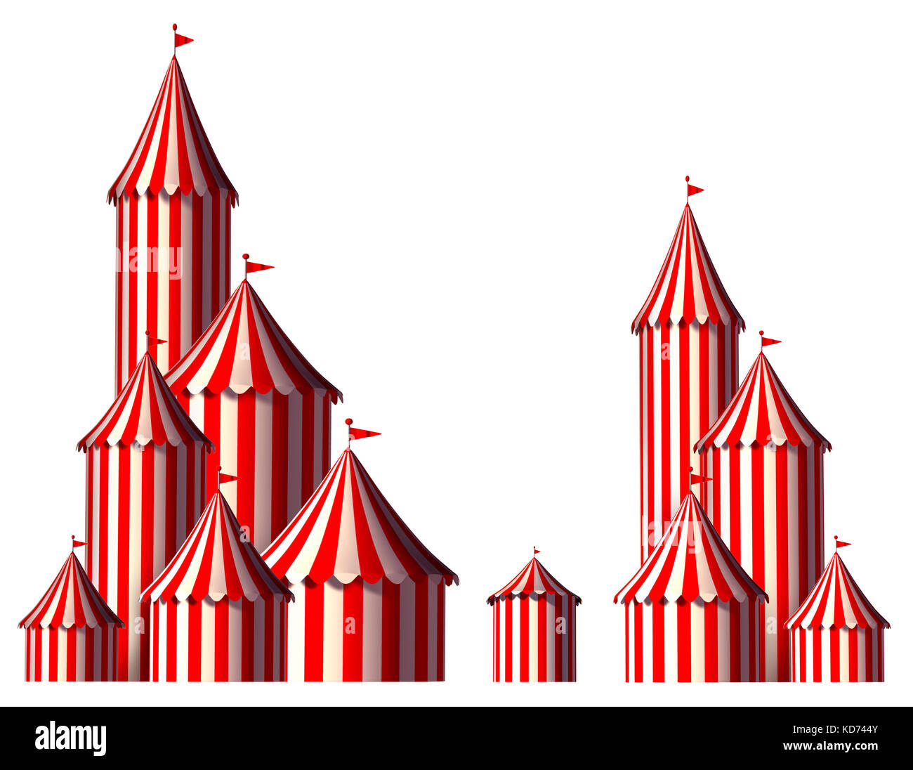 Circus tent design element as a group of big top carnival tents with an opening entrance as a fun entertainment - Stock Image