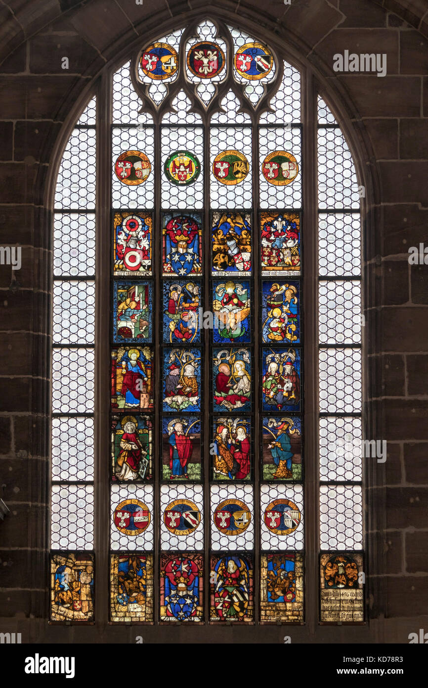 Christ's earthly relatives, Hirsvogel window, 15th century stained glass, Lorenzkirche, Nuremberg, Germany - Stock Image