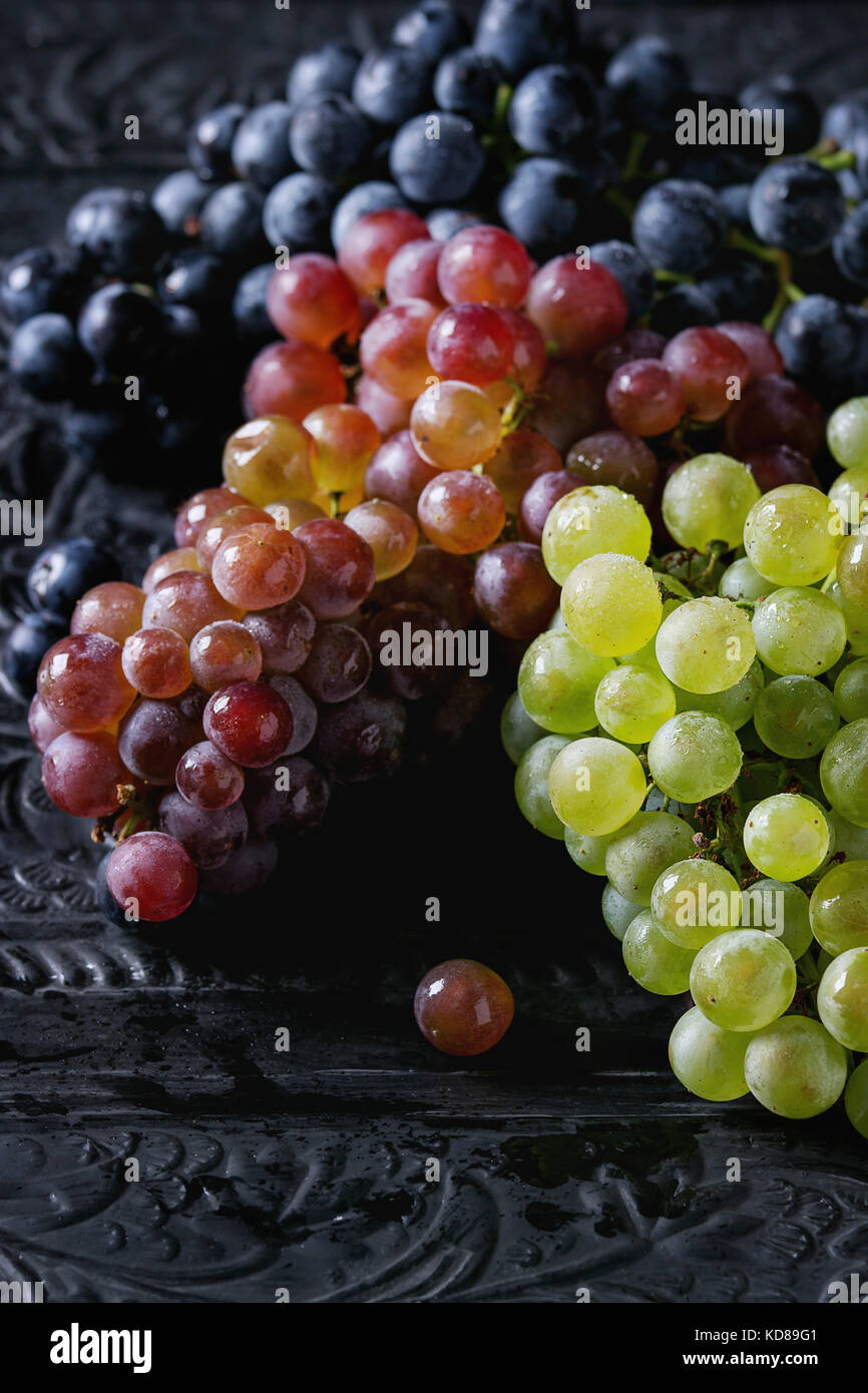 Variety of three type fresh ripe grapes dark blue, red and green. Close up over black metal ornate background. - Stock Image