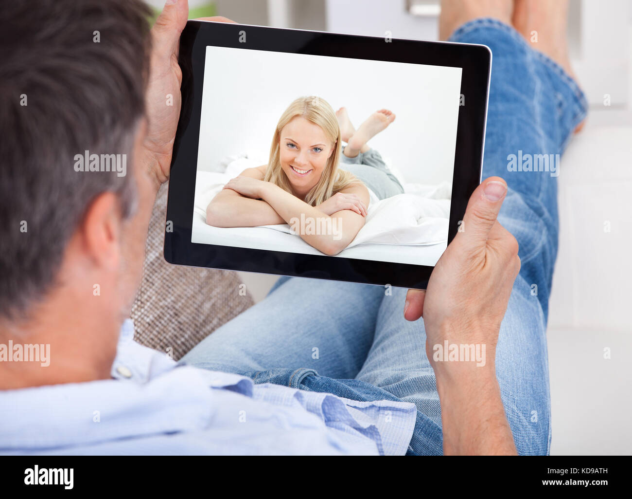 man chatting video