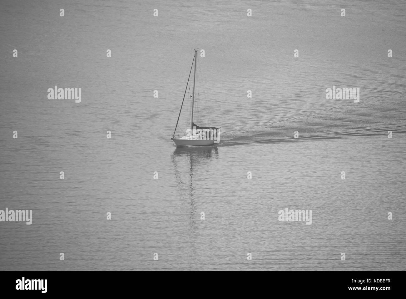 Sailboat in Fog Hudson River - Stock Image