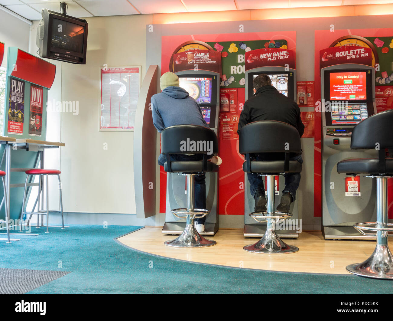 Fixed odds betting terminals in bookmakers. England. UK Stock Photo