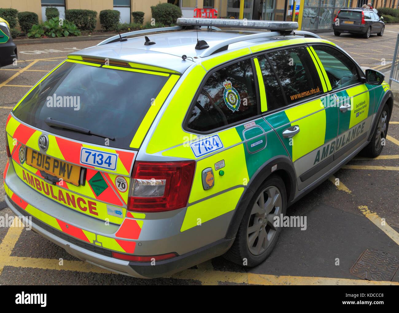 East Midlands Ambulance Service, saloon car, ambulances, NHS, England, UK - Stock Image
