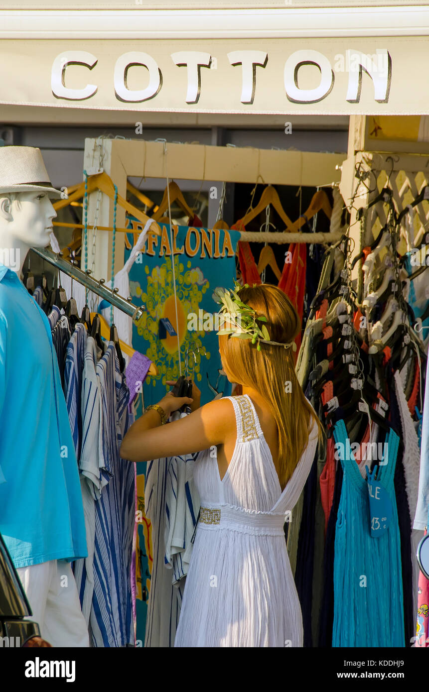 Argostoli Greece woman in classical Greek white dress in clothing store, Kefalonia, Cephalonia, Ionian Islands, - Stock Image