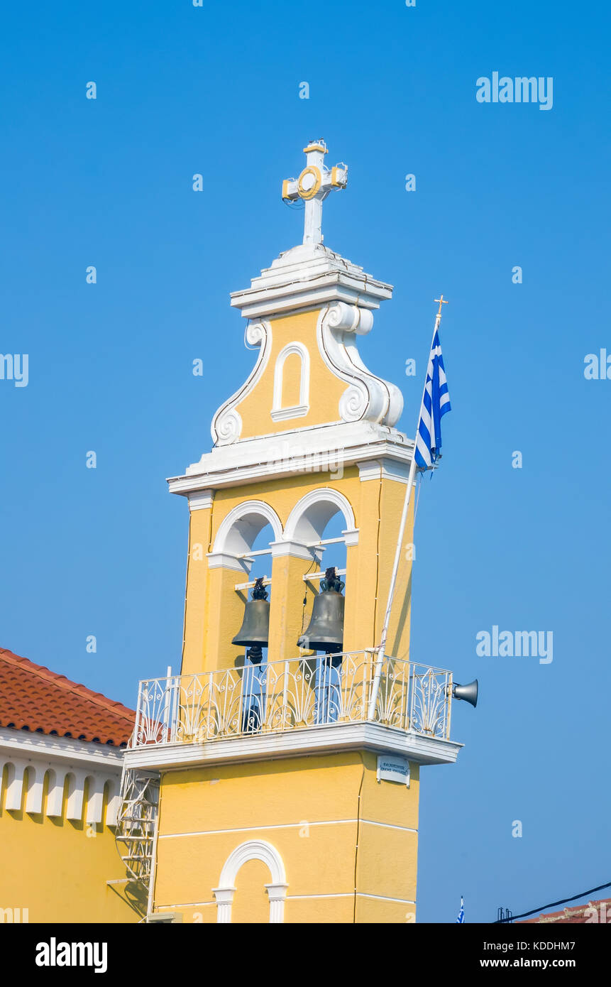Bell tower of Church of Mother of God Sissiotissa Greek Orthodox church  Argostoli, Kefalonia, Cephalonia, Ionian - Stock Image