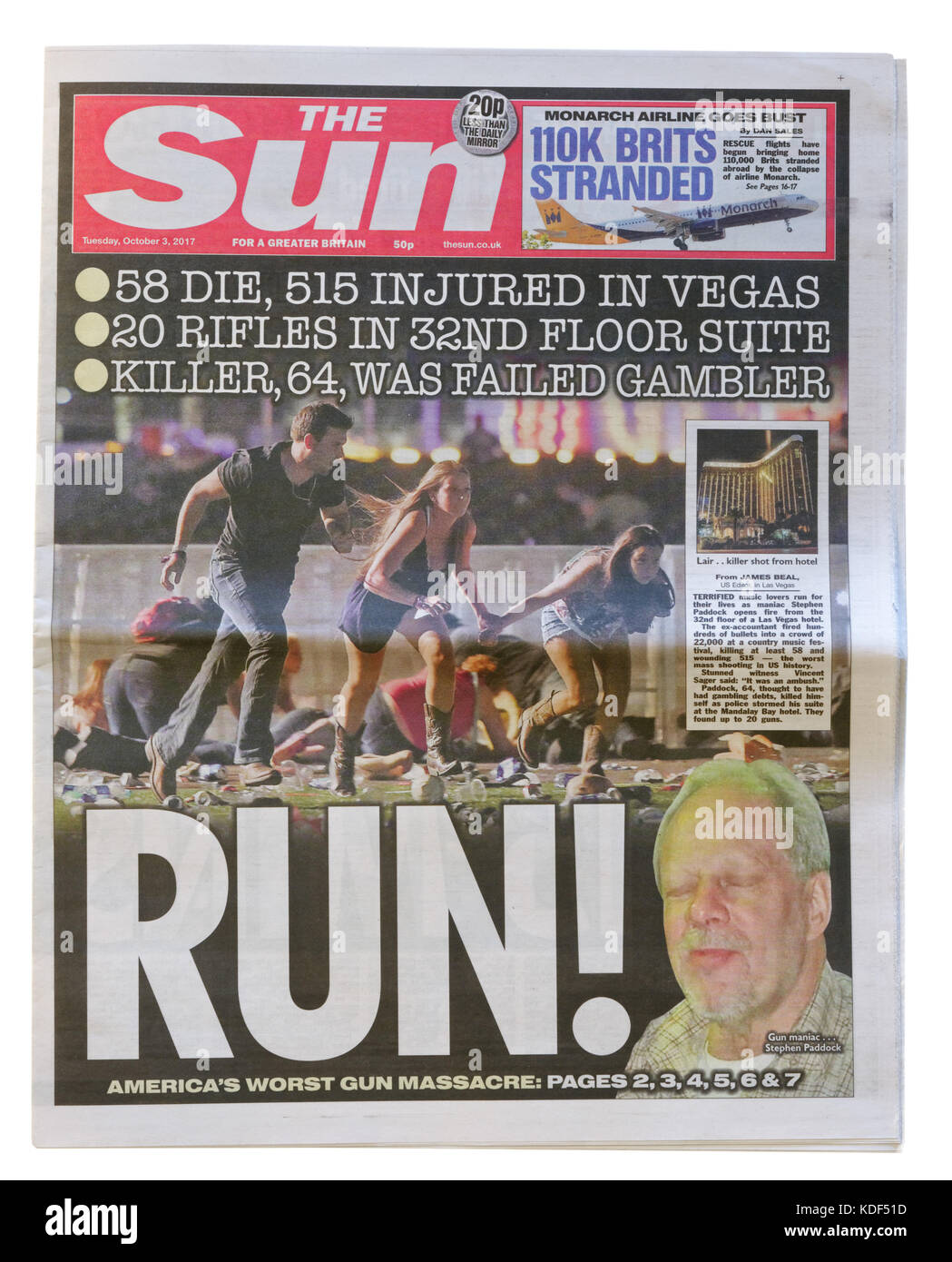 The Sun newspaper headline after the Las Vegas mass shooting on 1st October 2017 - Stock Image