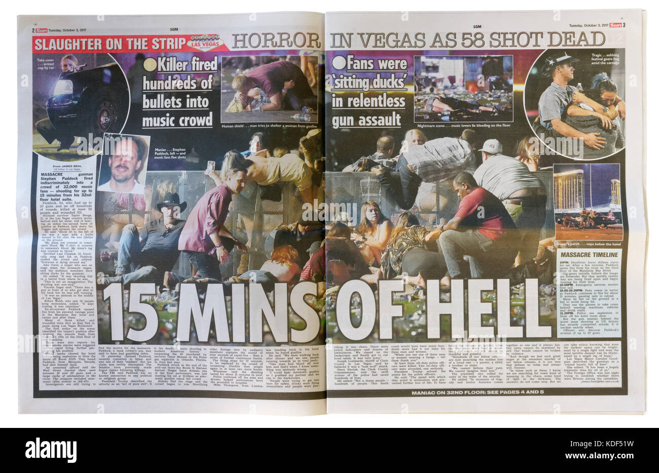 The Sun inside pages headline after the Las Vegas mass shooting on 1st October 2017 - Stock Image
