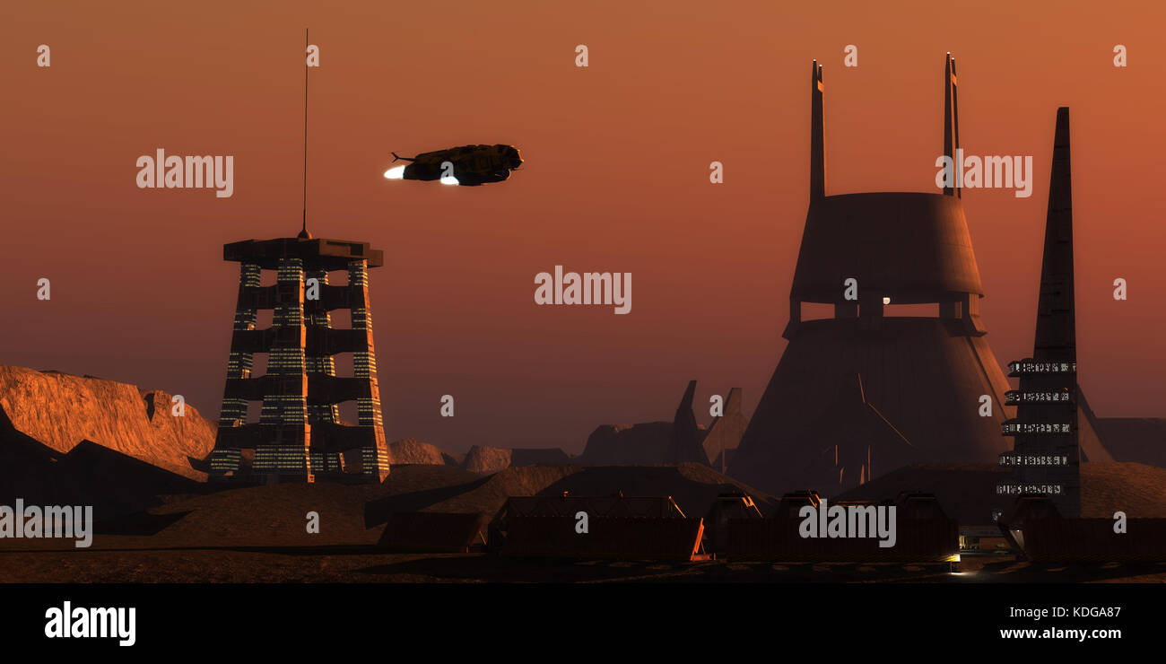 Light glows from a colony complex on the planet Mars as a spaceship comes in for a landing from Earth. - Stock Image
