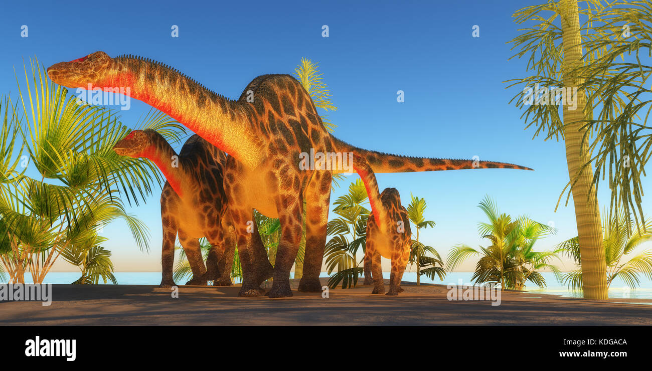 Mother Dicraeosaurus Dinosaur - A Dicraeosaurus dinosaur mother escorts her youngsters through tropical plants and - Stock Image