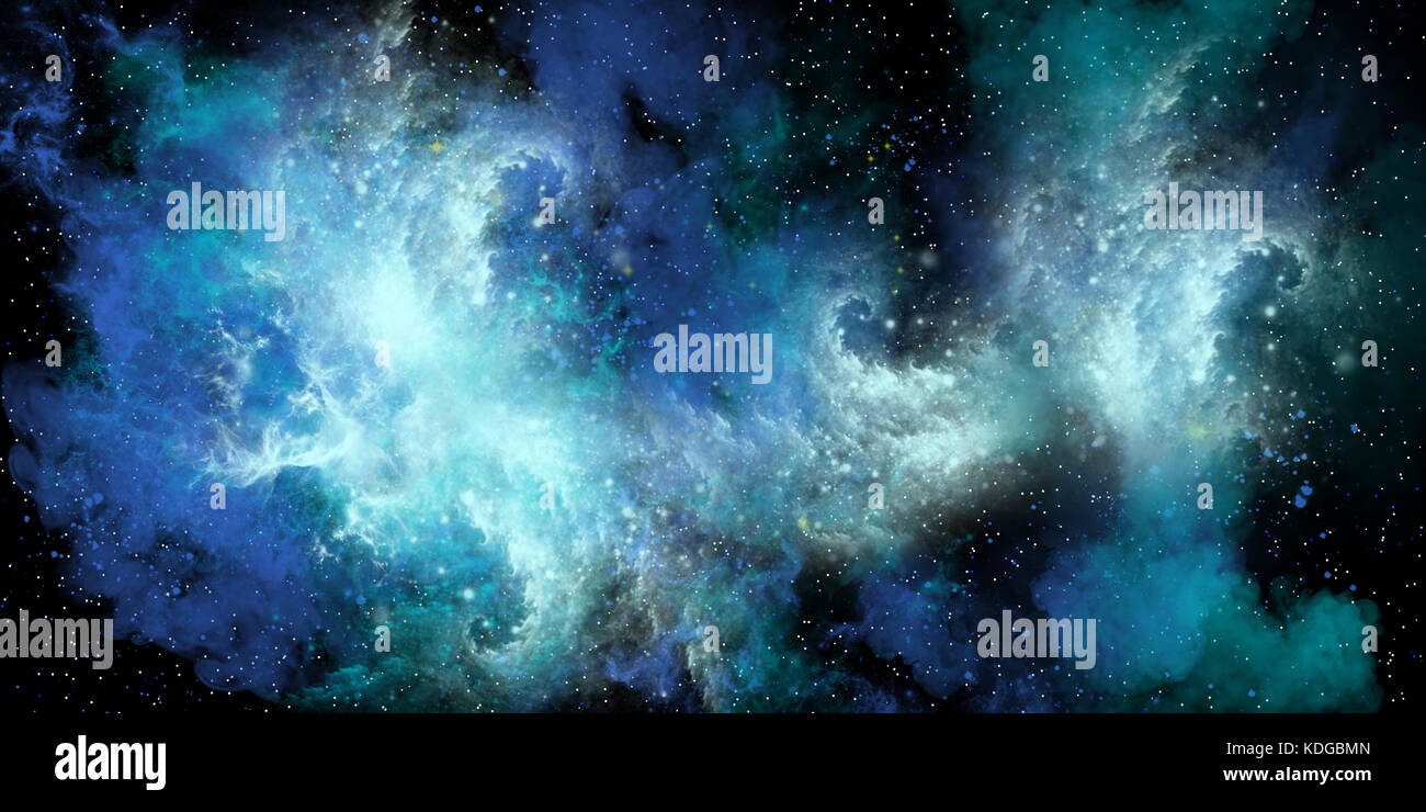 Stormy Sea Nebula - A blue nebula is full of stars, plasma gasses and matter and forms dense clusters of interstellar - Stock Image