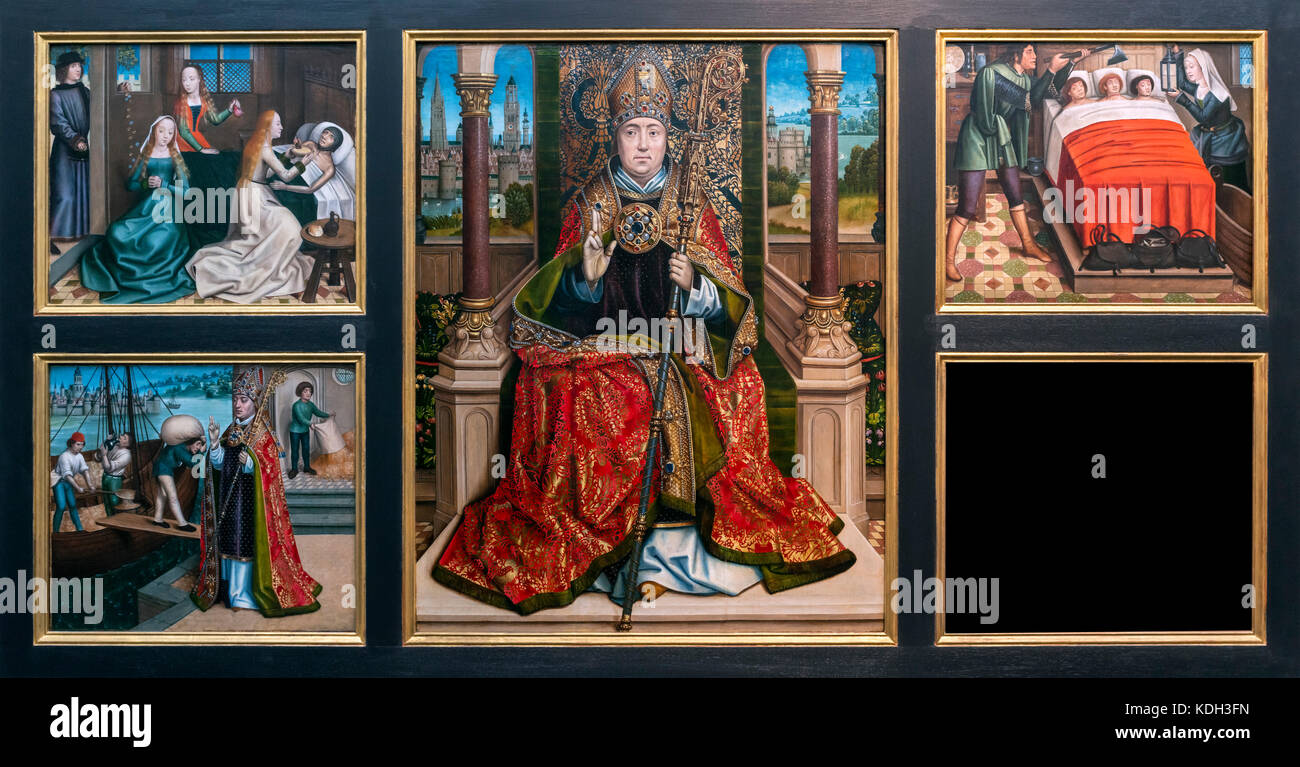 Retable of St Nicholas by Master of the Legend of St Lucy (Meester van de Legende van de Heilige Lucia: c.1430/40 - Stock Image