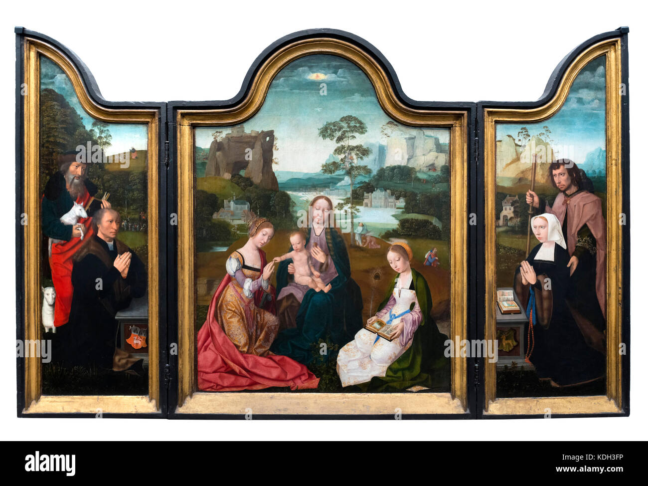 Triptych entitled Madonna with Saints Catherine and Barbara by Master of the Holy Blood (active 1500-1520), oil - Stock Image