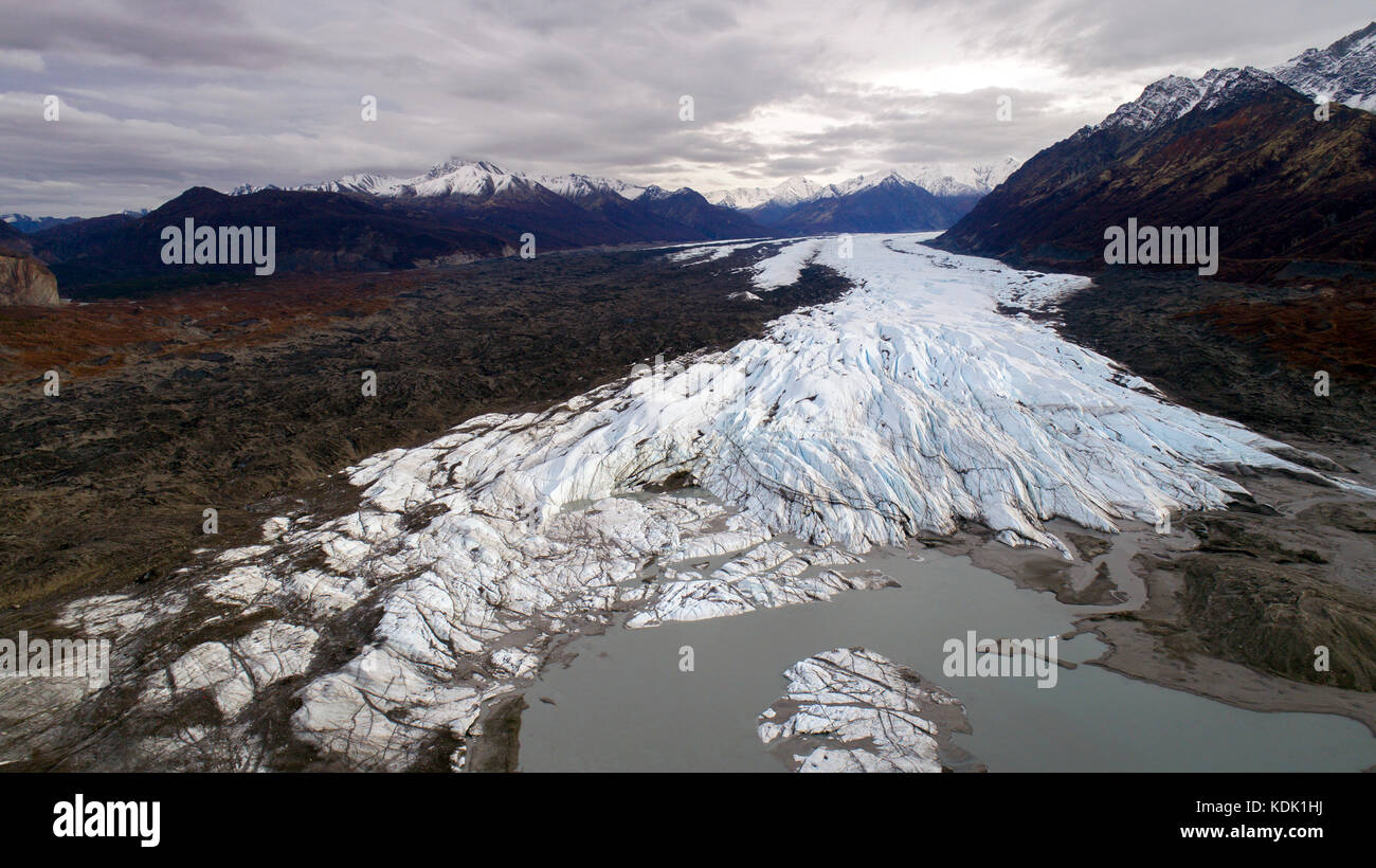 The Matanuska Glacier, an aerial photo from the Chrugach National Forest in Alaska USA. The Chugach National Forest - Stock Image