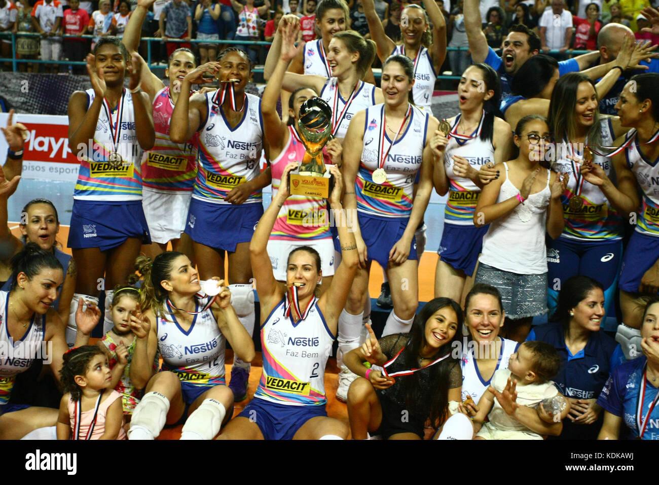 Osasco Brazil. 13th Oct 2017. Vôlei Nestlé's teamcof coach Stock Photo Royalty Free Image