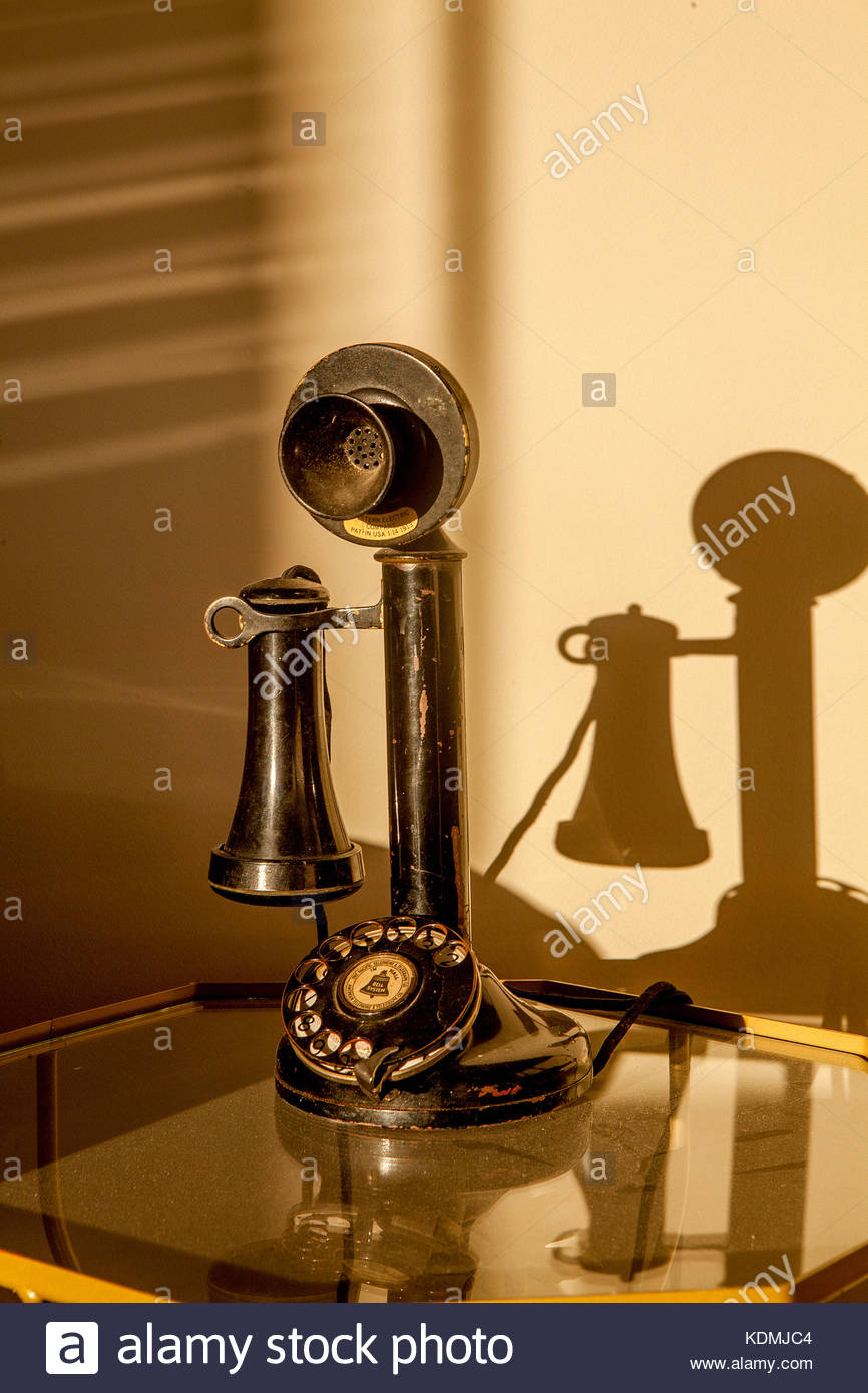 Old-fashioned candlestick telephone manufactured by Western Electric Company around 1904. - Stock Image