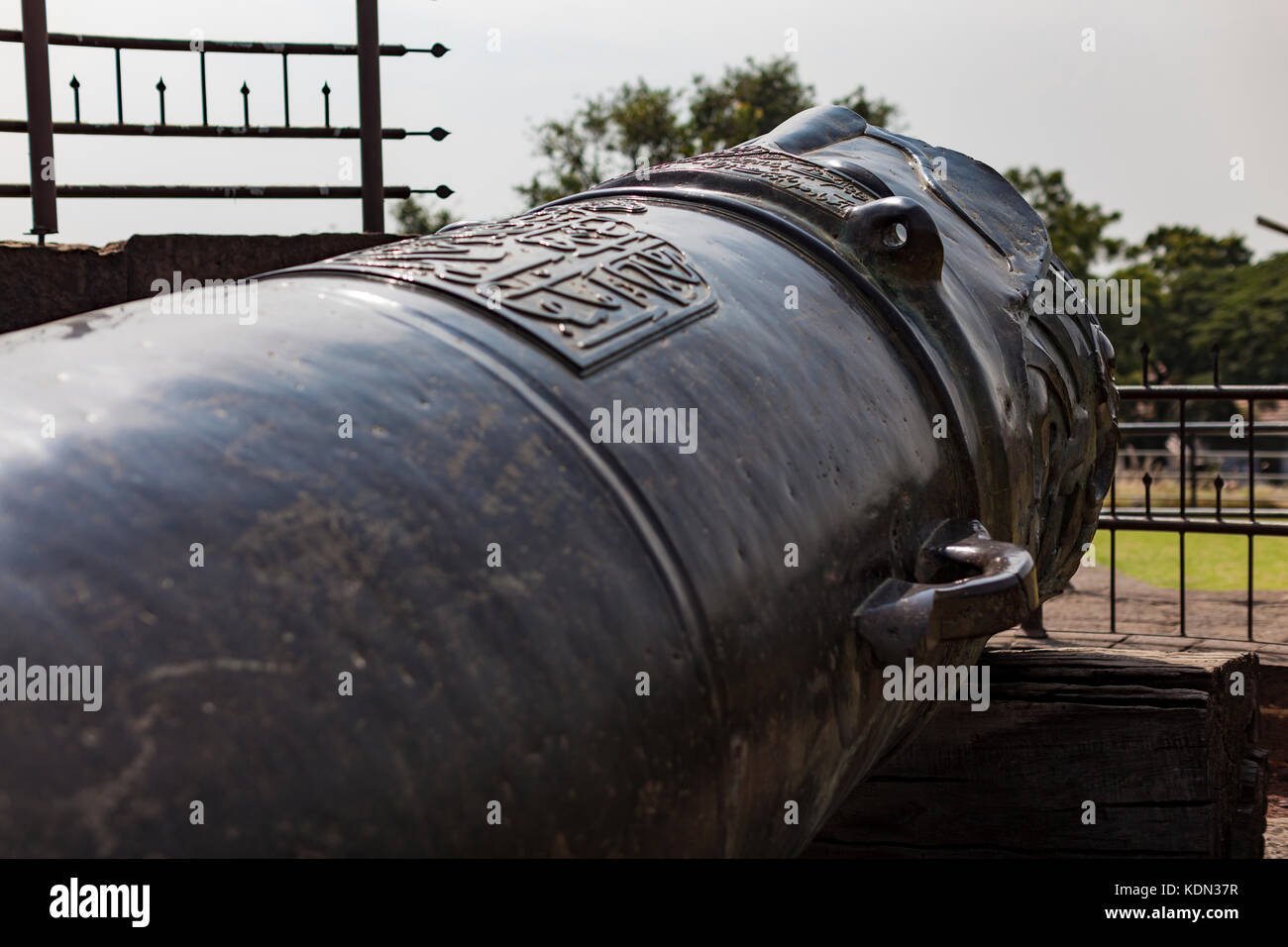 Malik-e Maidan in Bijapur is a huge cannon placed onto of a tower in Bijapur, India. - Stock Image