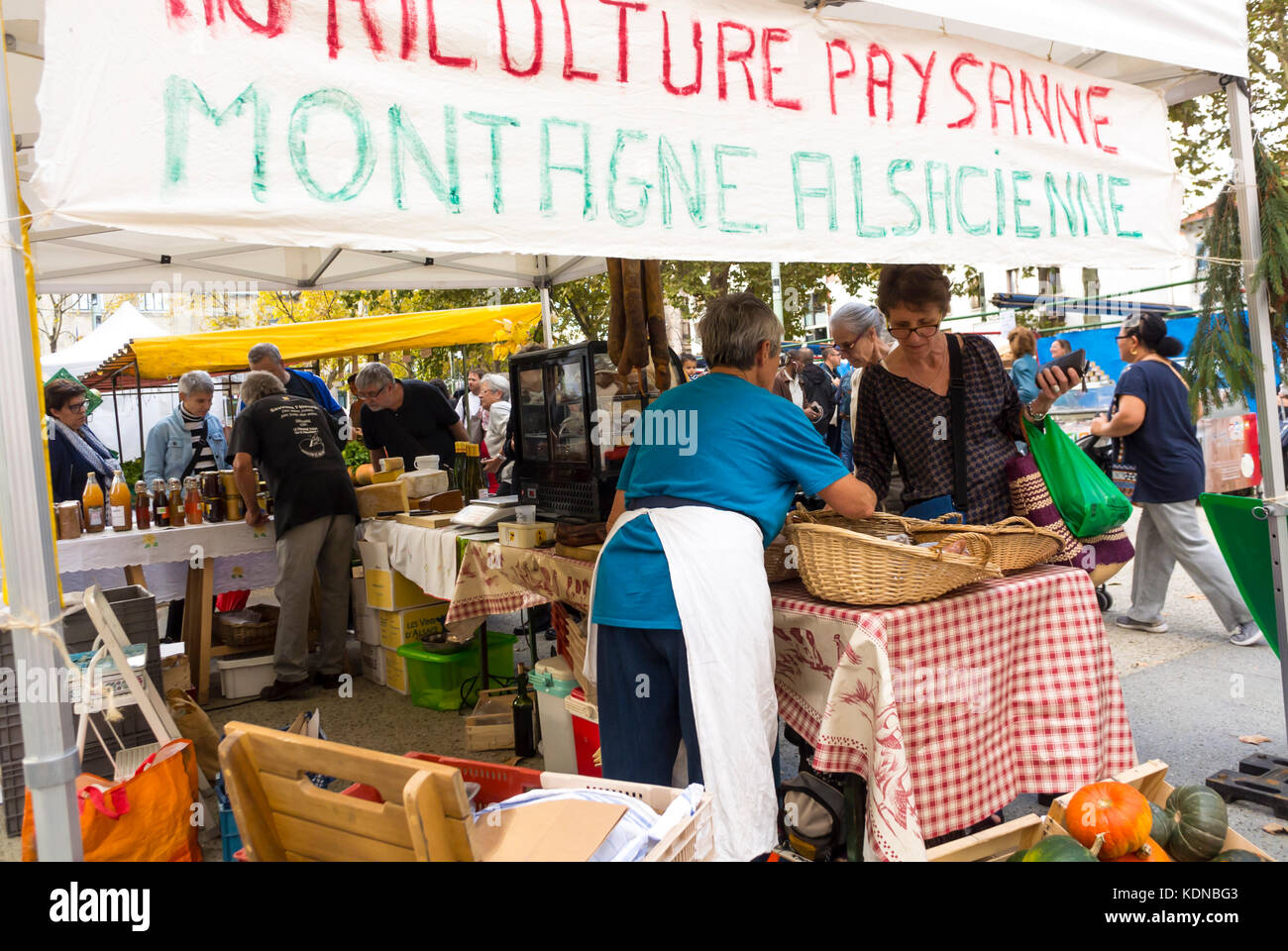 Montreuil, France, Local Products, French Farmer's Organic Food Market on Public Square in Paris Suburbs - Stock Image
