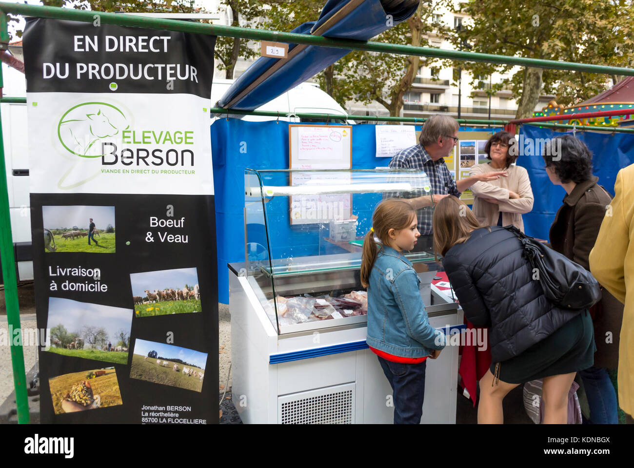 Montreuil, France, French Family Shopping, Local Products, Farmer's Organic Food Market on Public Square in - Stock Image