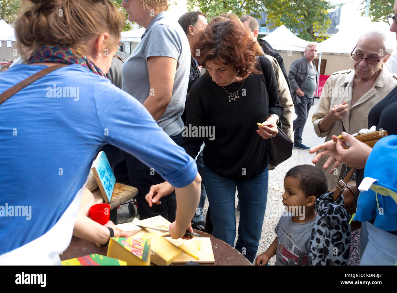 Montreuil, France, Family Shopping, Local Products, French Farmer's Organic Food Market on Public Square in - Stock Image