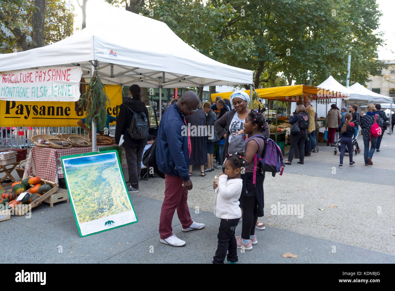 Montreuil, France, African Family Shopping, Local Products, French Farmer's Organic Food Market on Public Square - Stock Image
