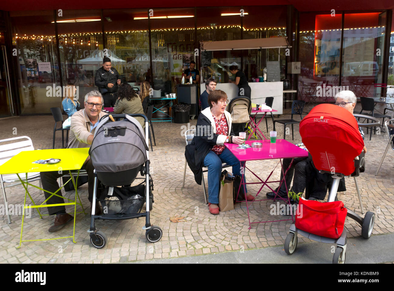 Montreuil, France, Local Products, French Cafe on Public Square in Paris Suburbs - Stock Image
