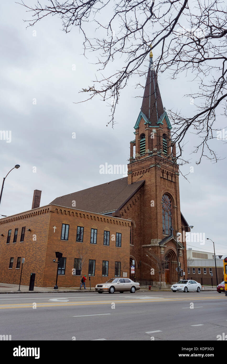 Chicago, FEB 1: Exterior view of St Francis of Assisi Catholic Church on FEB 1, 2012 at Chicago, Illinois, United - Stock Image