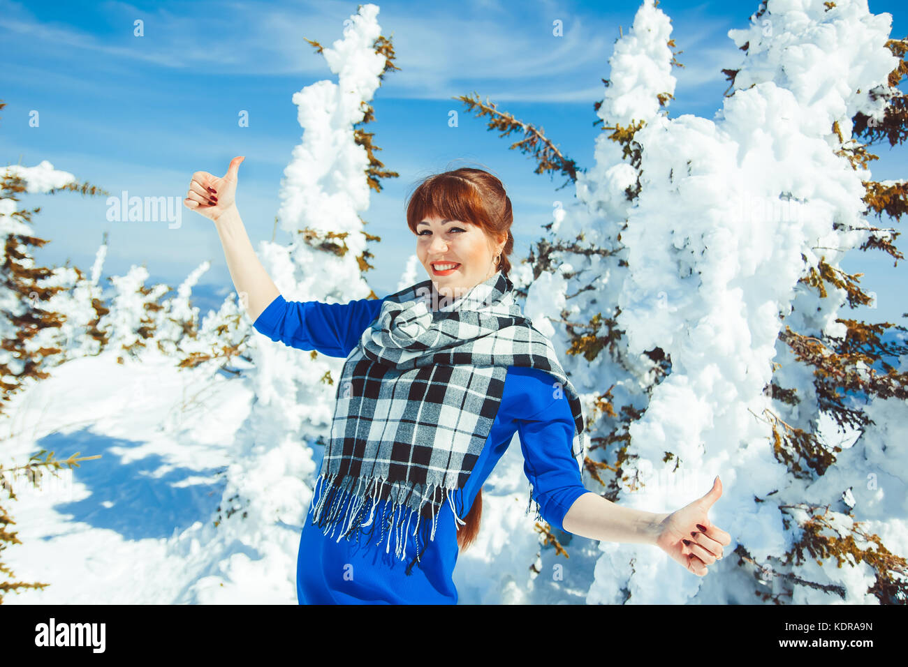 woman in winter shows class - Stock Image