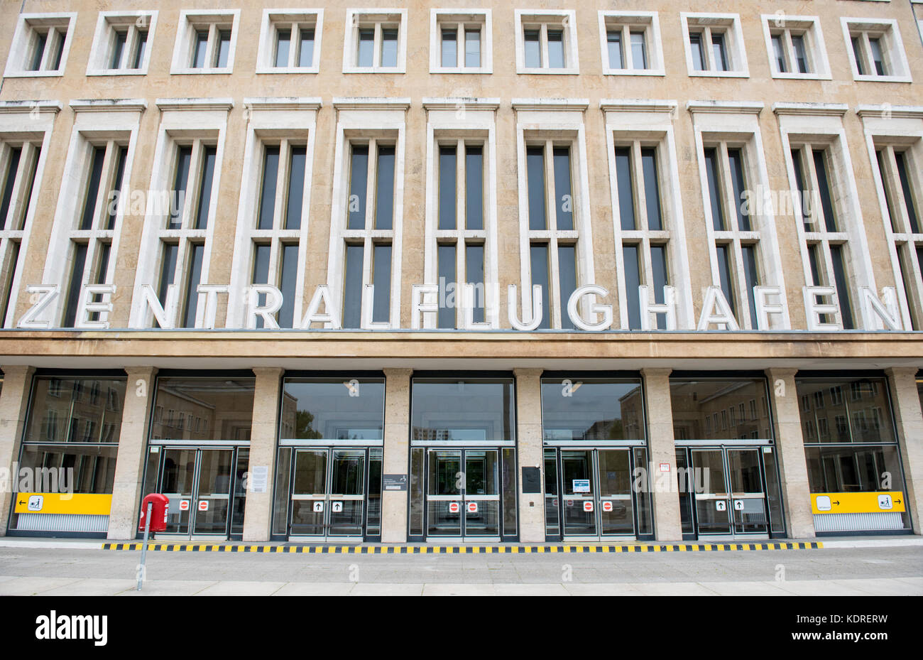 Exterior of Tempelhof airport in Berlin, Germany, which ceased operating in 2008 - Stock Image