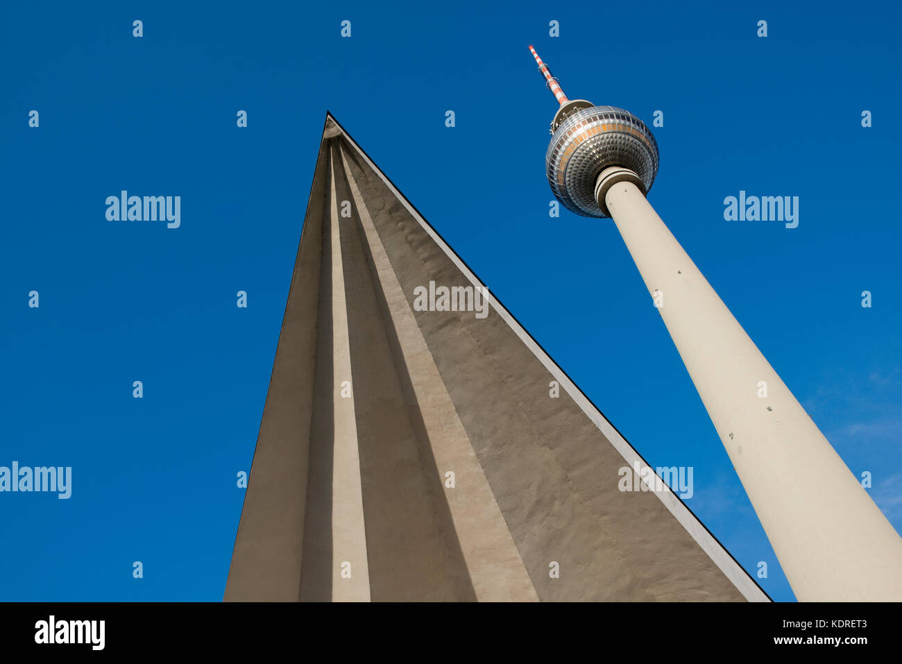 The Fernsehturm television tower in Berlin, Germany - Stock Image