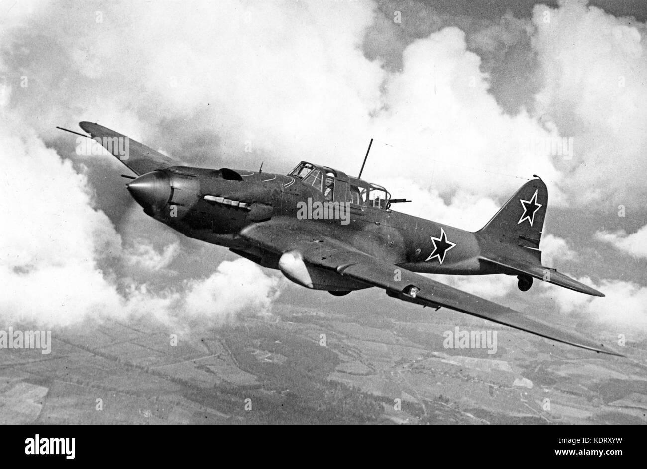 ILYUSHIN II-2 STURMOVIK Soviet airforce ground attack aircraft - Stock Image