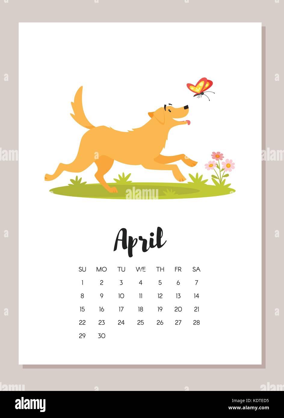 April Calendar Illustration : Vector cartoon style illustration of april dog year
