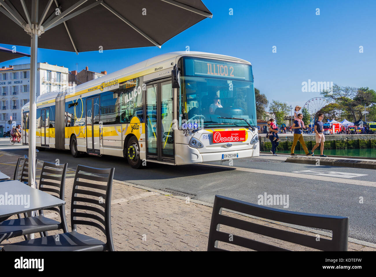 Articulated bus in La Rochelle, France. - Stock Image