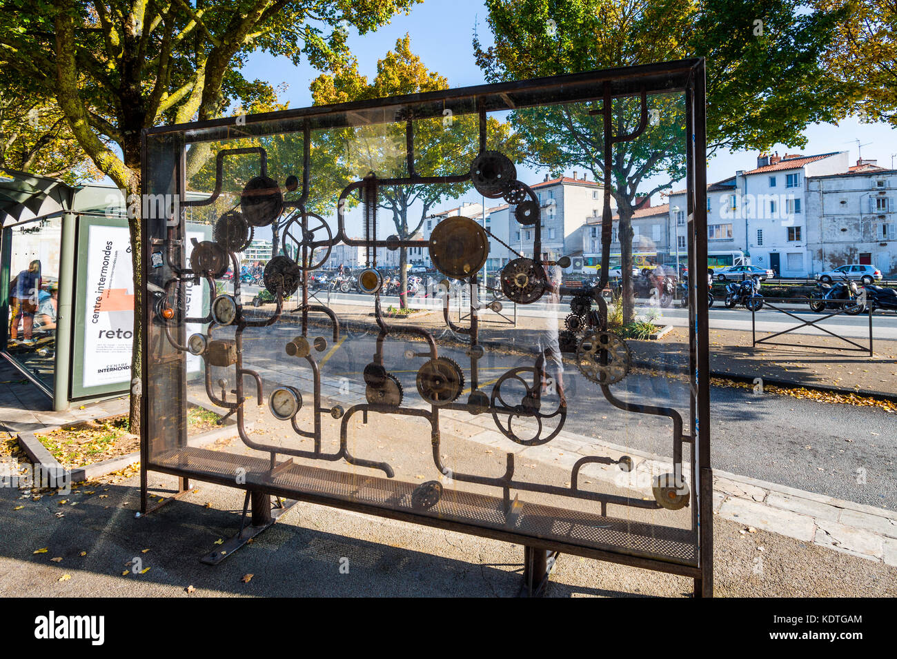 Sculptural screen in bus shelter, La Rochelle, France. - Stock Image