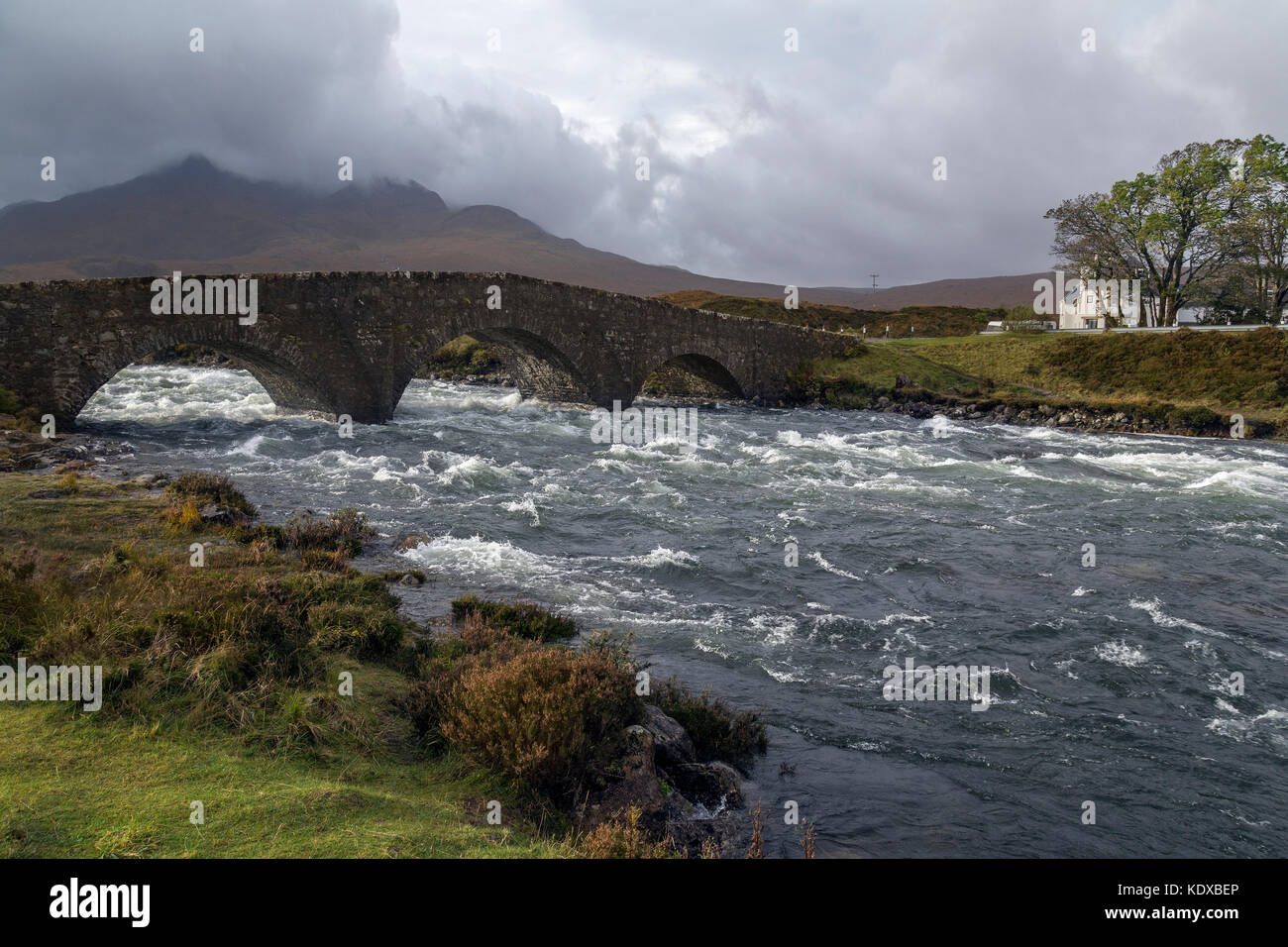 The old bridge at Sligachan on the Isle of Skye in the Cuillin Hills in the Inner Hebrides of northwest Scotland. - Stock Image