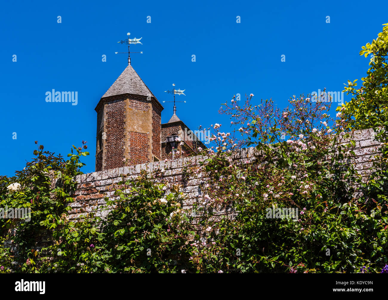 Castle tower and rose wall at Sissinghurst Gardens, Kent, UK - Stock Image