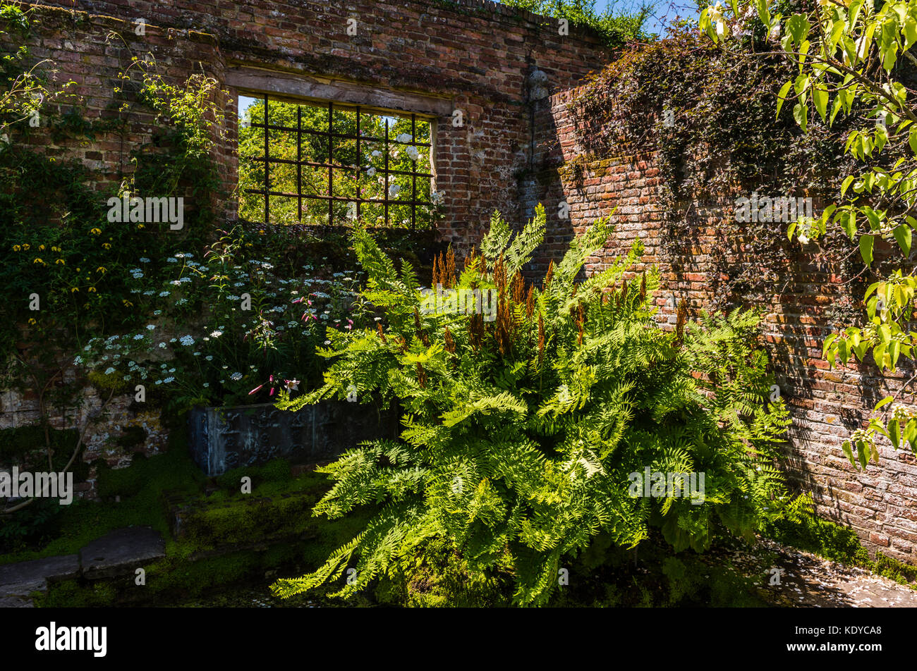Derelict building corner at Sissinghurst Gardens, Kent, UK - Stock Image