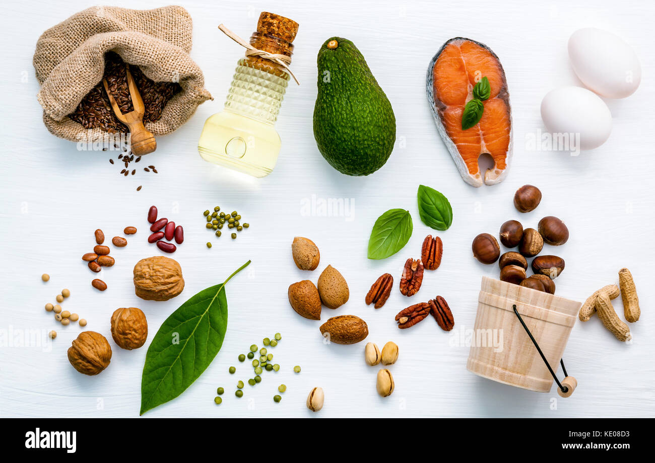 Selection food sources of omega 3 . Superfood high unsaturated fats for healthy food. Nutshell and lentils flat - Stock Image