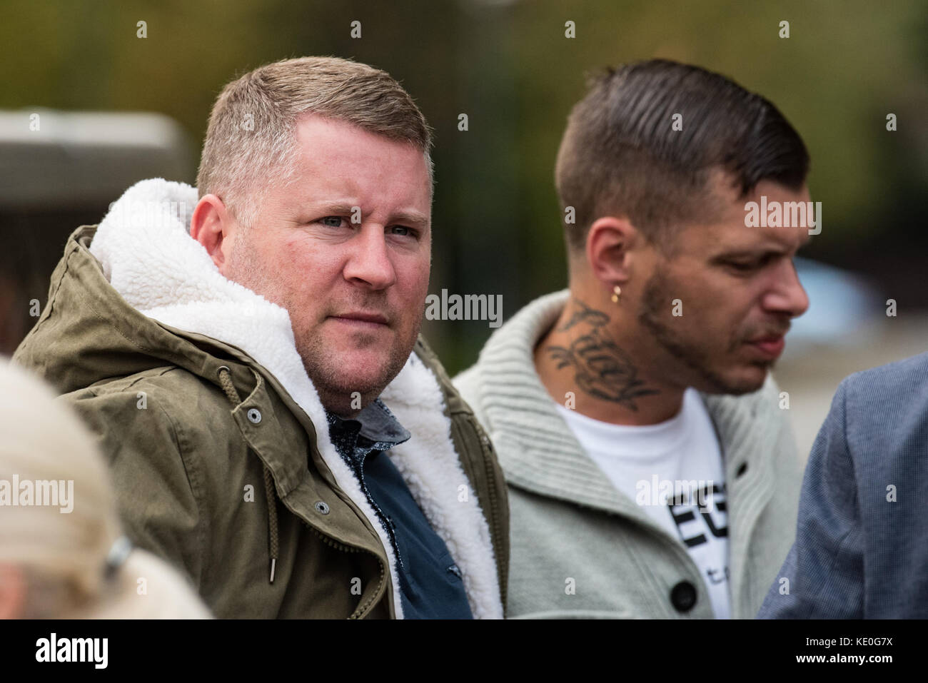 Sevenoaks, United Kingdom. 17th Oct, 2017. Britain First leader Paul Golding and Deputy Leader Jayda Fransen at - Stock Image