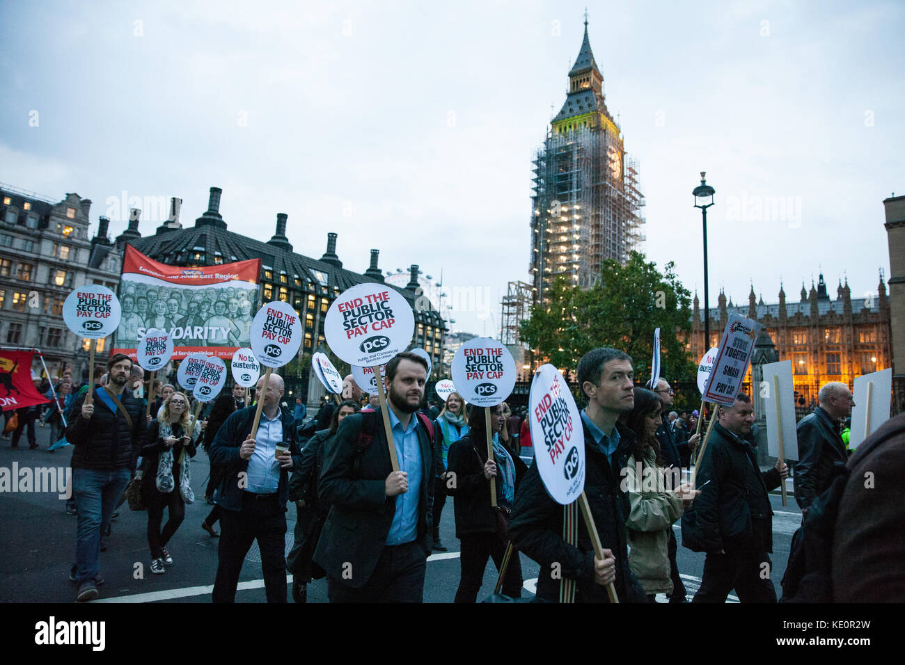 London, UK. 17th Oct, 2017. Public and Commercial Services Union (PCS) trade union members march to a TUC rally - Stock Image