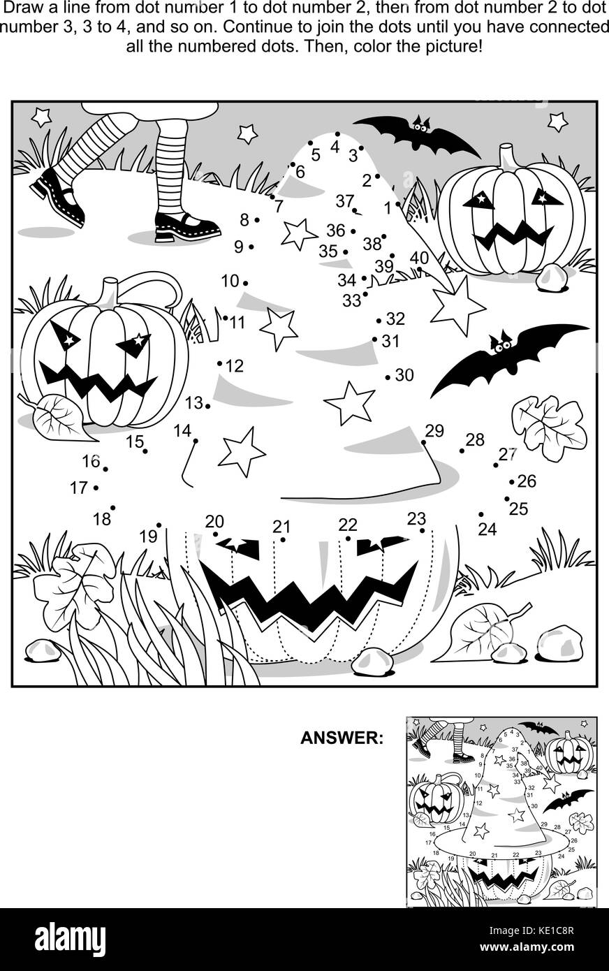 Connect the dots picture puzzle and coloring page - Halloween scene with witch hat, pumpkins, bats, and young witch - Stock Image