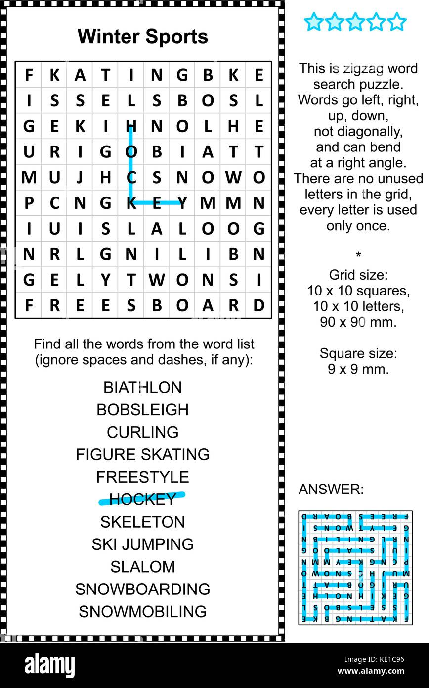 Winter sports themed zigzag word search puzzle (suitable both for kids and adults). Answer included. - Stock Image