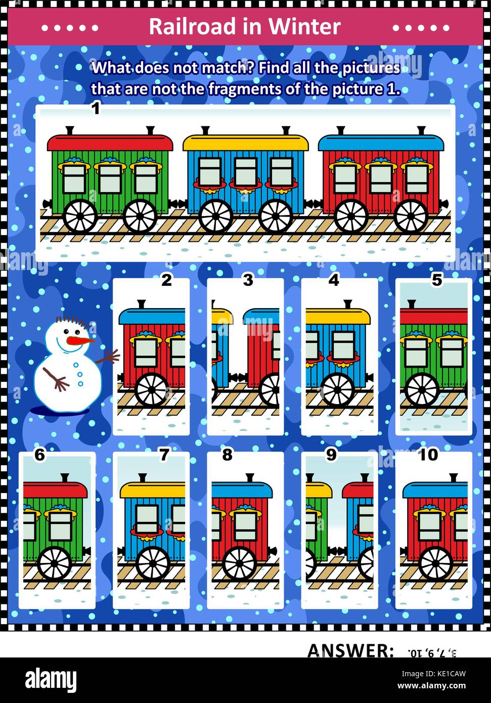 IQ training visual puzzle (suitable both for kids and adults) with retro train cars in snowfall: Find all the pictures - Stock Image