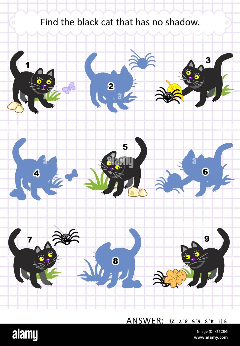 Halloween themed visual puzzle or picture riddle with black cat: Find the picture that has no shadow. Answer included. - Stock Image