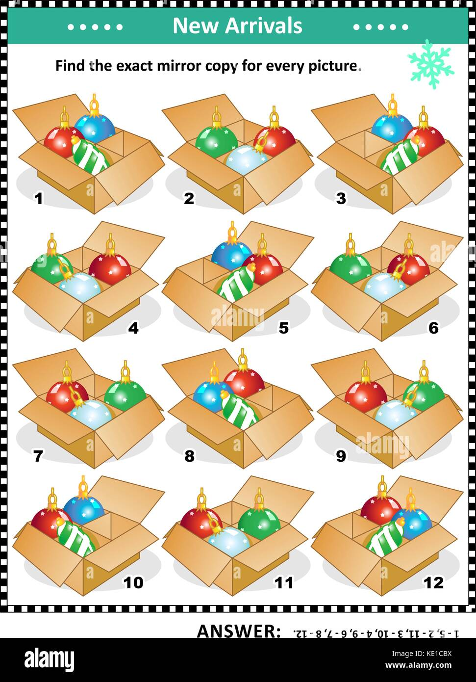 Christmas or New Year themed visual puzzle with packaged ornaments: Match the pairs - find the exact mirrored copy - Stock Image
