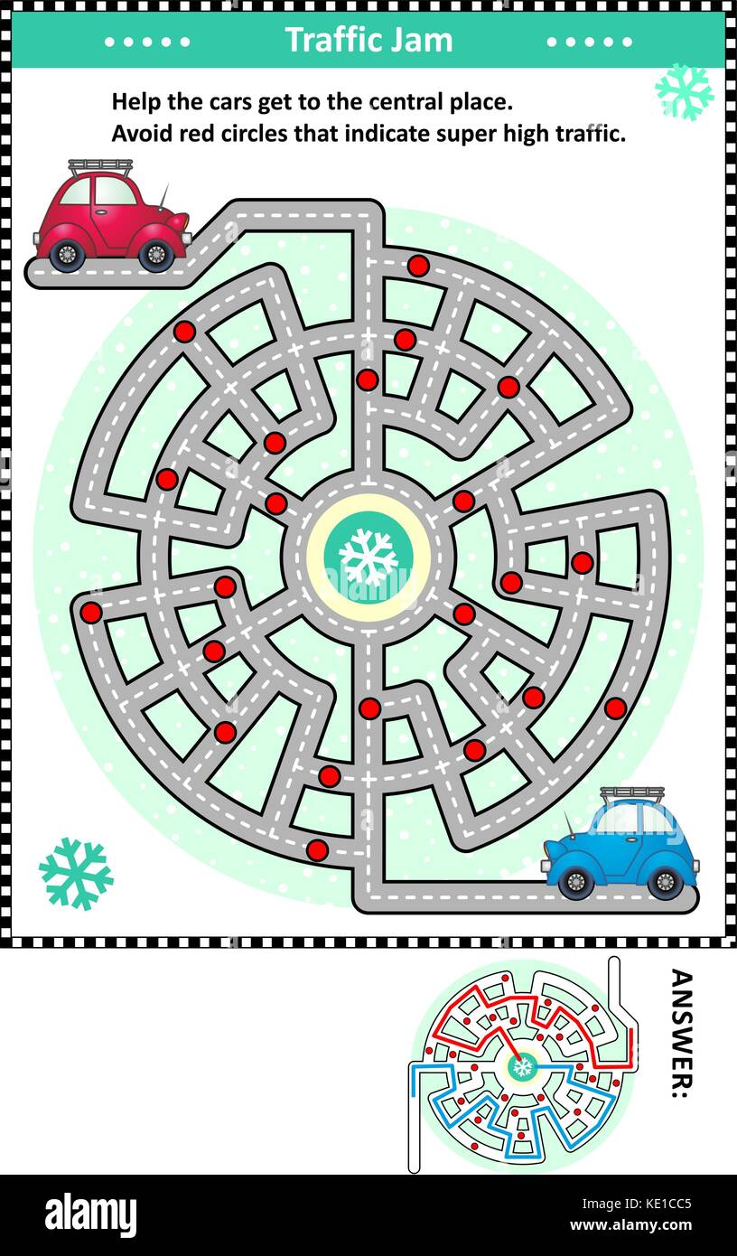 Winter traffic jam road maze game: Help the red car and the blue car get to the central place. Avoid red circles - Stock Image
